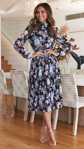 High Collar Chiffon Print Midi Dress