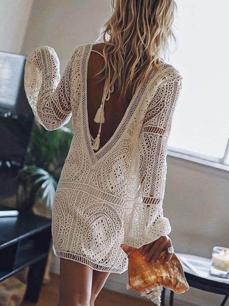 Floral Lace Hollow Crochet Swimsuit Cover-Ups