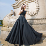 Round Neck Sleeveless Evening Dress-2color