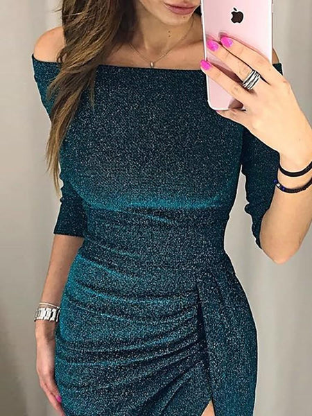 Green Shiny Off Shoulder Ruched Thigh Slit Party Dress
