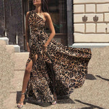 Sexy One Shoulder Sleeveless Leopard Maxi Dresses