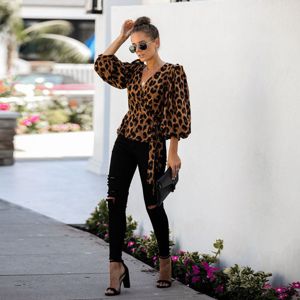 Leopard Print Holiday Long Sleeve Shirt