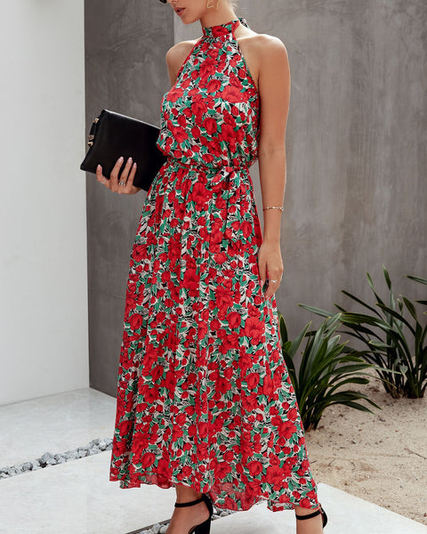Floral Halter Backless Maxi Dress-2color