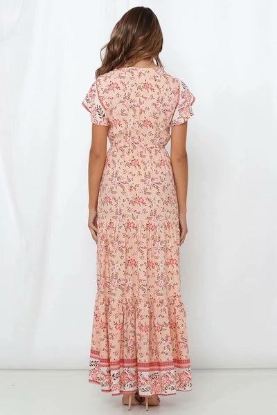 Bohemia Peach Blossom Maxi Dress