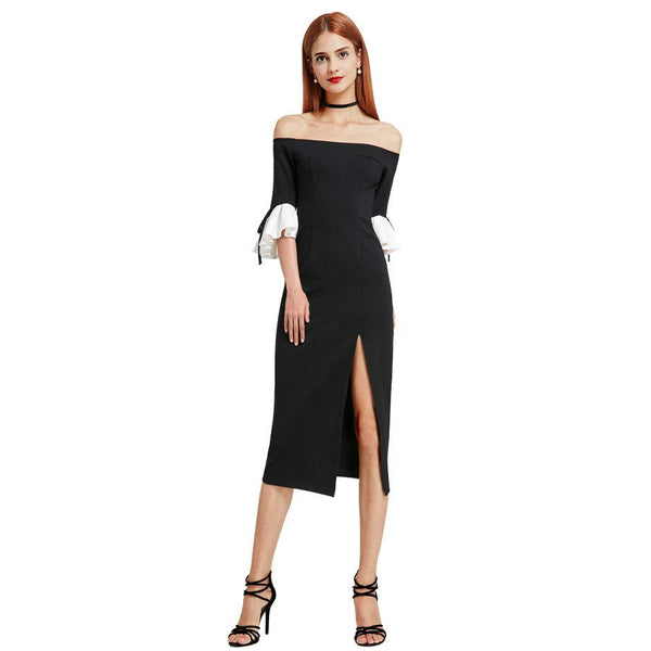 Fashion Women  Off Shoulder  Ruffle Sleeve Split Evening Dress