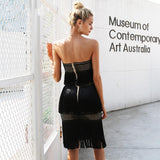 Women Off Shoulder Hollow Sexy Strapless Tassel Vintage Dress
