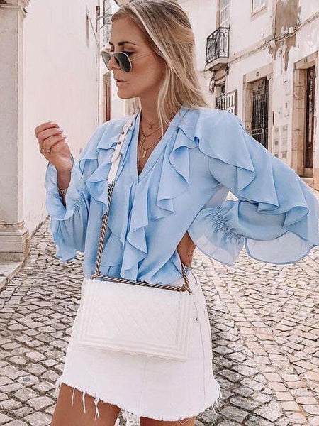 Women European Summer Ruffles Shirts