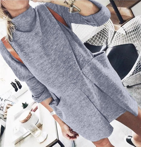 Fashion Round-neck Pocket Sweaters Dress-5color