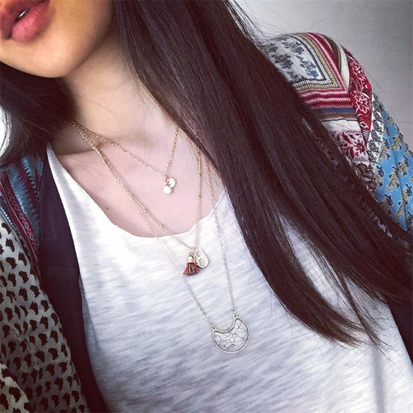 Bohemian Style Multilayer Stone Tassels Necklace Pendant