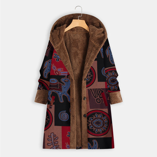 Bohemian Printed Hooded Coat-4color