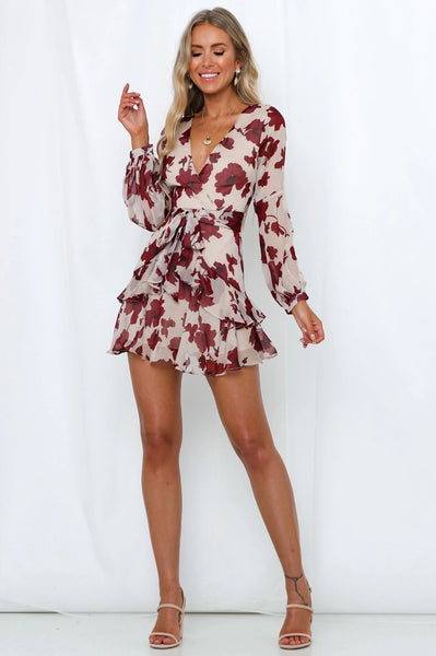 Red Maple Print Tie Mini Dress