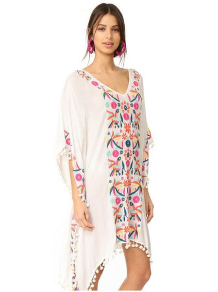 Bohemia Tassels Embroidered Loose Cover Ups
