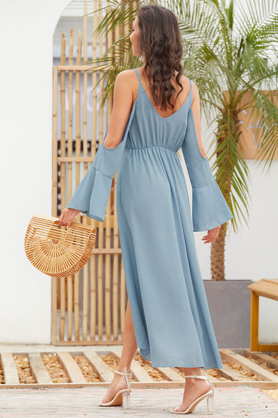 Horn Long Sleeve Sling Maxi Dress-2color