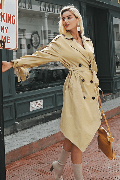 Khaki Asymmetrical Trench Coats