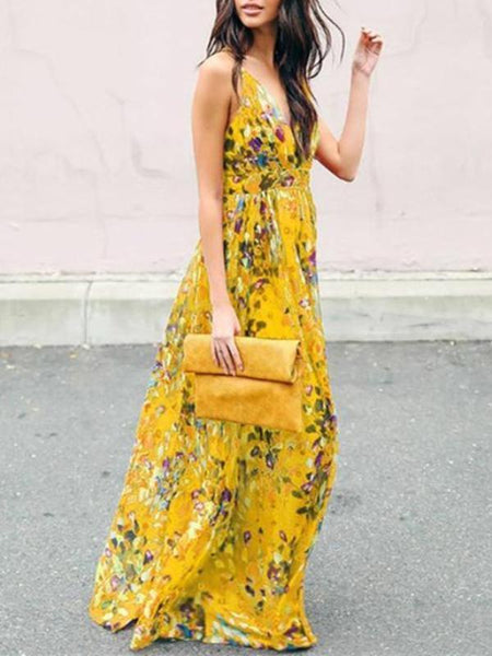 Boho Maxi Dress|Yellow Bohemia Floral V Neck Backless Maxi Dress-ShopForSelection