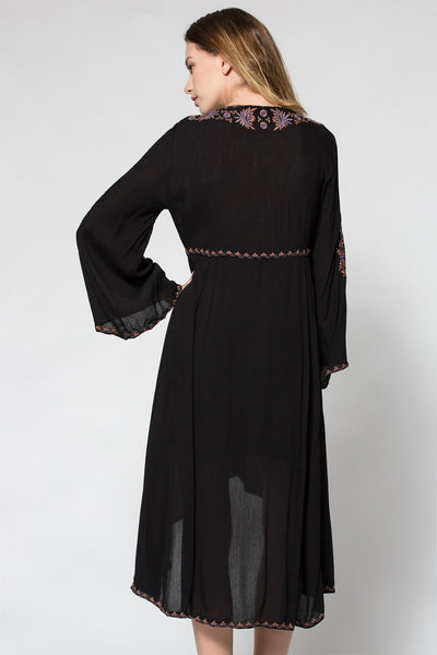 Vintage Ethnic Flower Embroidered Cotton Maxi Dress