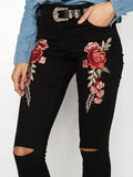 Women Skinny Ripped Denim Jeans High Waist Floral Bottom