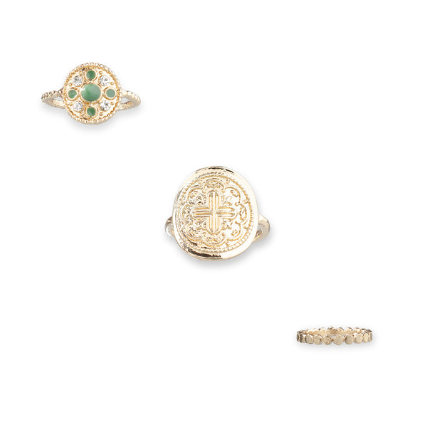 Simple Emerald Geometry Totem 7-Piece Rings