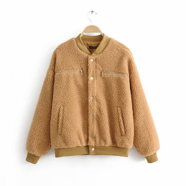 Cashmere Casual Short Jacket Teddy Coats