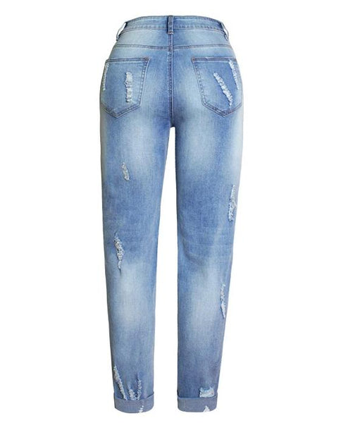 Hot Vogue Stretch Floral 3D Embroidery Denim Jeans Pants