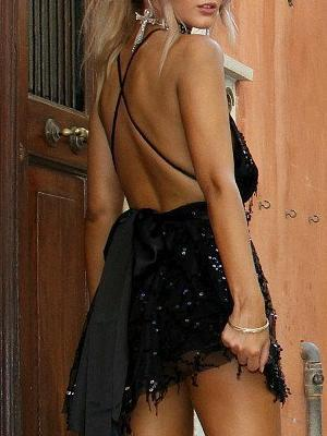 Backless Halter Mini Dress -2color