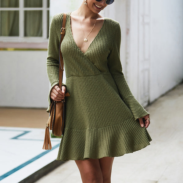 V-neck Sexy Knit Dress-2color