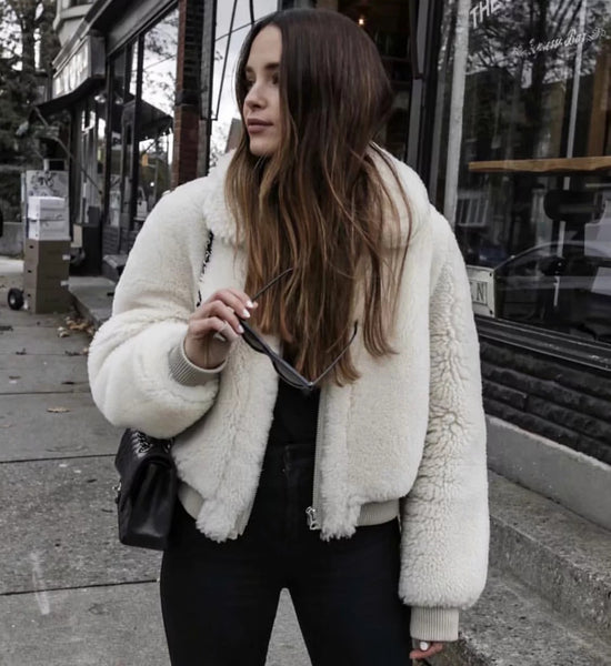 White Faux Fur Collar Zipper Coat