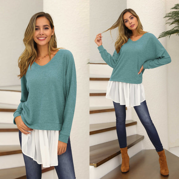 V-neck Patchwork Knitted Top-4color