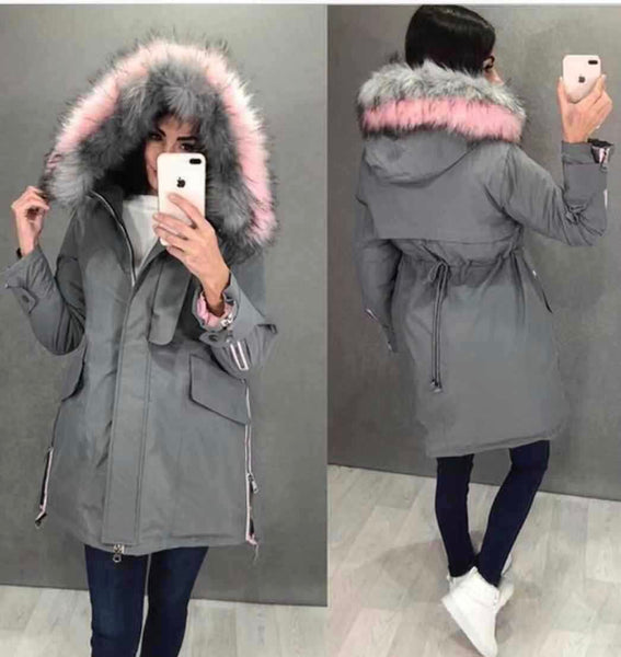 Big Fur Collar Pike Down Quilted Jacket-3color