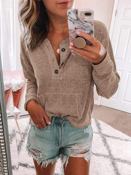 Casual Button Long Sleeve Sweater-5color