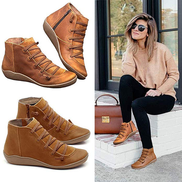 Flat Bottom Zipper Ankle Boots-6color