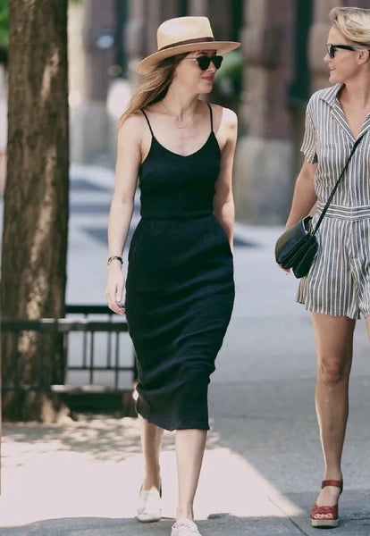 Little Black Slim Strap Midi Dress