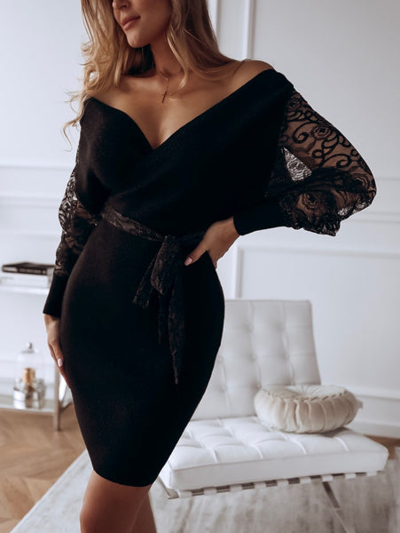 Sexy V-neck Lace Bodycon Sweater Dress