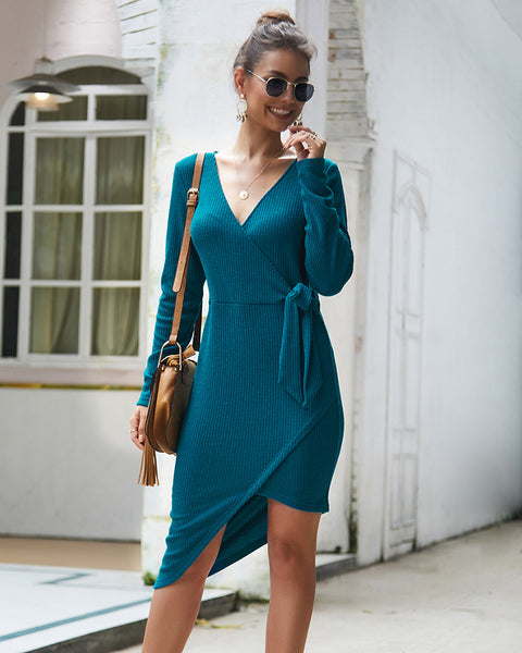 V-neck Sexy Tie Knit Dress-2color