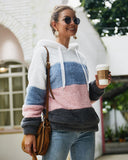 Striped Stitching Plush Hooded Sweater-gray