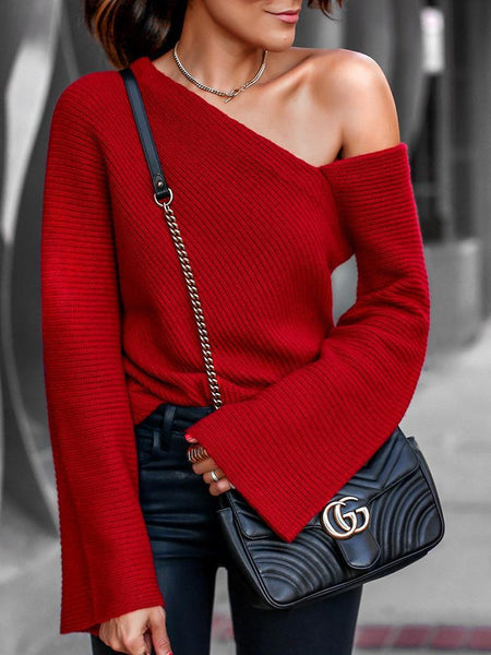Bell Sleeve One Shoulder Sexy Sweater