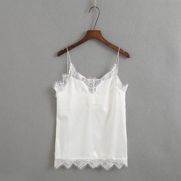 V-neck Satin Lace Vest Tank Top-2color
