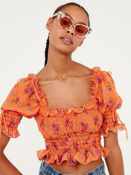 Orange Floral Elastic Puff Sleeve Boho Crop Top