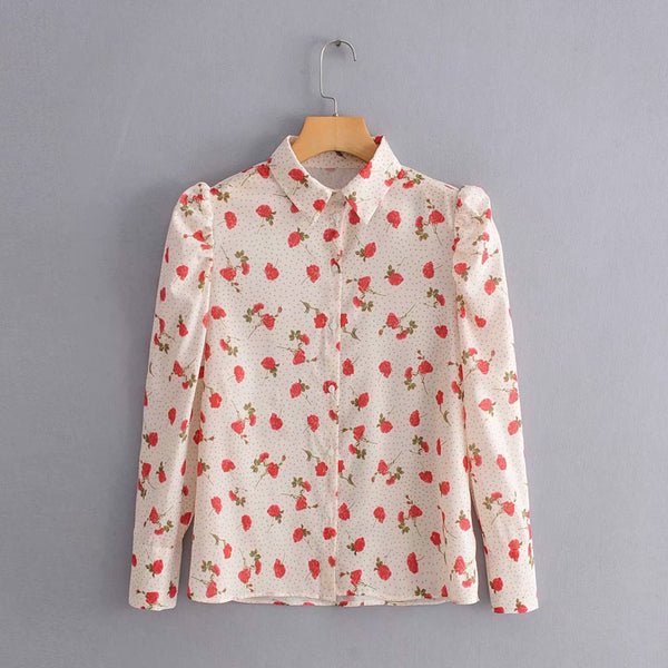 Rose Polka Dot Single-breasted Shirt