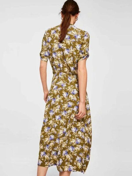 Autumn England Floral Print V-neck Sexy Party Dress