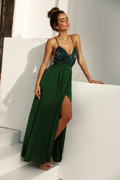 Sexy Sling Sequin Maxi Dress