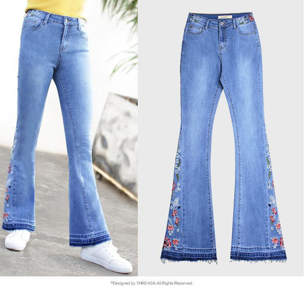 70s Flowers Embroidered Bell Bottoms Jeans