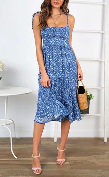Chic Fashion Sexy U-Neck Halter Strap Midi Dress -Blue
