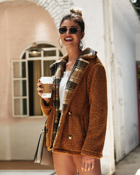 Lapel Plaid Button Teddy Coats-3color