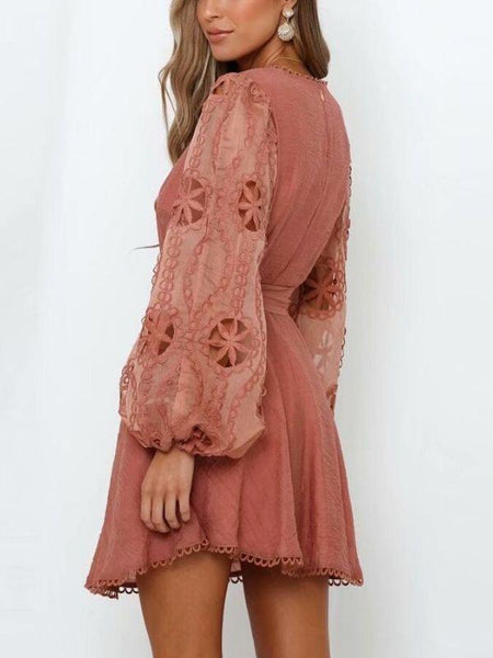 Floral Deep V-neck Long Sleeve Vintage Embroidery Gypsy Dress