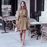 Vacation Long Sleeve Chiffon Dress + Sling Set
