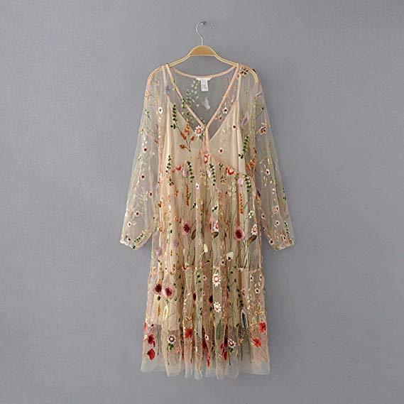 Women's Sexy Sheer Mesh Floral Embroidery Bohemian Long Dress