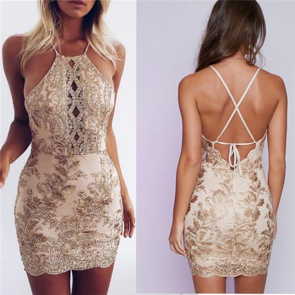 Sexy  Backless Spaghetti Embroided Cocktail Party Dress