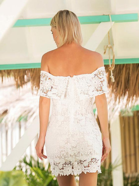 Hollow Strapless Backless White Off Shoulder Strapless Dresses