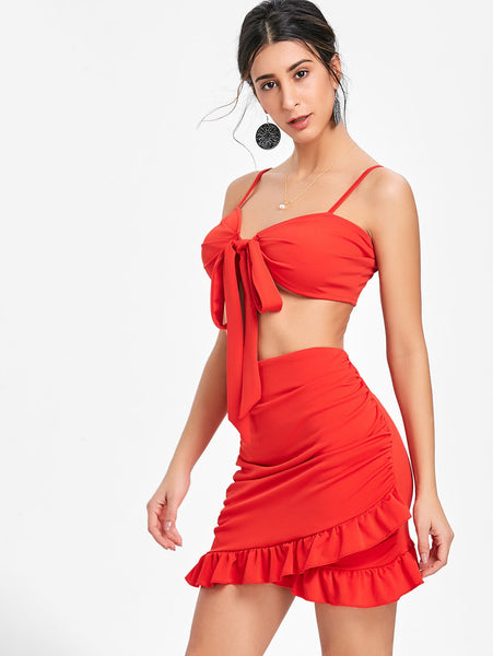 Strapless vest high waist flounce skirt set